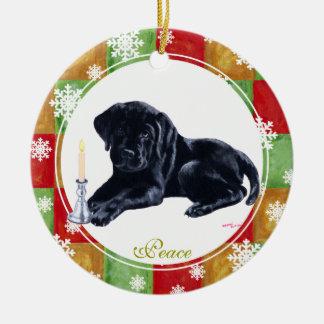 Personalized Christmas Black Labrador Puppy Ceramic Ornament