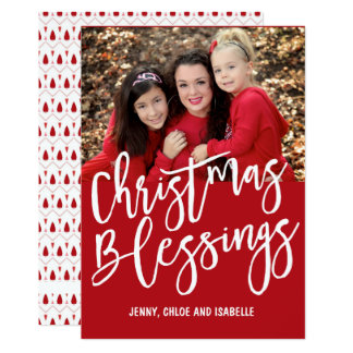 Personalized Christmas Blessings Family Photo Card