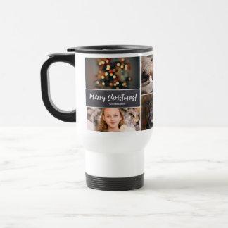 Personalized, Christmas, Collage 6 Photos, Chalk Travel Mug