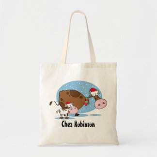 Personalized Christmas Cows Budget Tote Bag