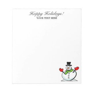 Personalized Christmas cute snowman winter Holiday Notepad