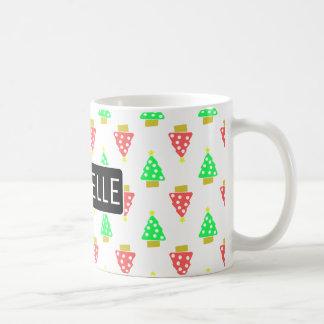 Personalized Christmas Doodle Trees Coffee Mug