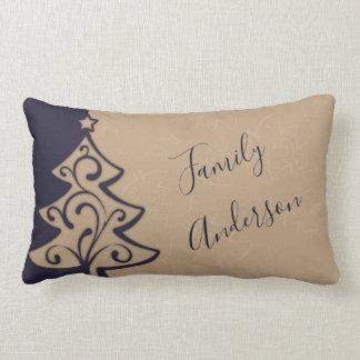 Personalized Christmas Elegant Blue Taupe Decor Lumbar Cushion
