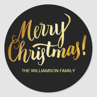 Personalized Christmas Envelope Seal, Black & Gold Classic Round Sticker