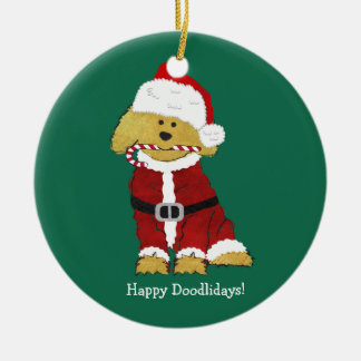 Personalized Christmas Goldendoodle Santa Claus Ceramic Ornament
