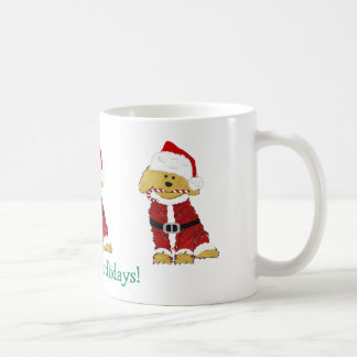 Personalized Christmas Goldendoodle Santa Claus Coffee Mug