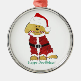 Personalized Christmas Goldendoodle Santa Claus Metal Ornament