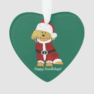 Personalized Christmas Goldendoodle Santa Claus Ornament