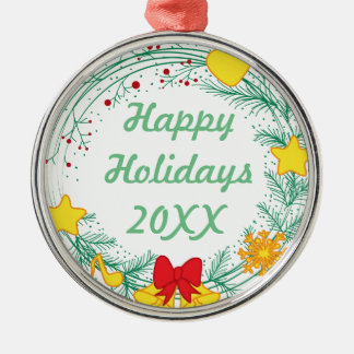 Personalized Christmas Happy Holidays Metal Ornament