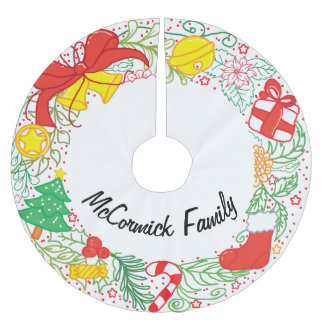 Personalized Christmas Happy Holidays Wreath Brushed Polyester Tree Skirt