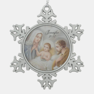 Personalized Christmas Holy Family Nativity Snowflake Pewter Christmas Ornament