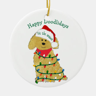 Personalized Christmas Lights Goldendoodle Ceramic Ornament