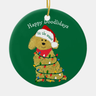 Personalized Christmas Lights Goldendoodle Green Ceramic Ornament