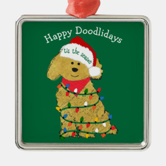 Personalized Christmas Lights Goldendoodle Green Metal Ornament