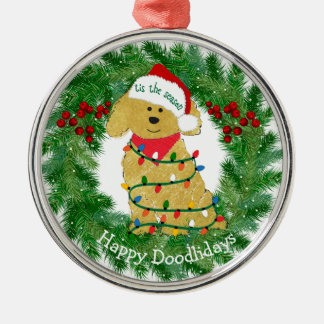 Personalized Christmas Lights Goldendoodle Metal Ornament