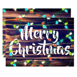 Personalized Christmas Lights on Woodgrain Card
