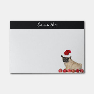 Personalized Christmas pug dog post it notes