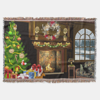 Personalized Christmas Scene Throw Blanket
