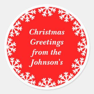 Personalized Christmas Snowflakes Envelope Seals Round Sticker