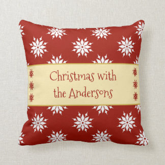 Personalized Christmas snowflakes red Cushion