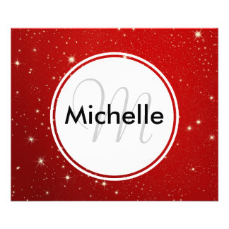 Personalized Christmas Starry Red Night Sky Photo