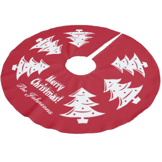 Personalized Christmas tree decoration Holiday red Brushed Polyester Tree Skirt