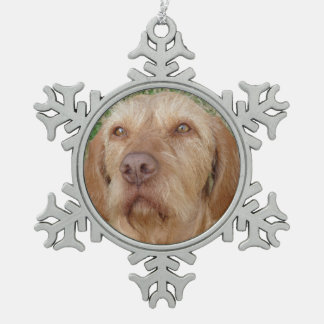 Personalized Christmas Vizsla Pet Photo Pewter Snowflake Decoration