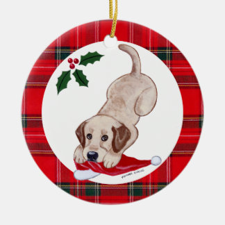 Personalized Christmas Yellow Lab Puppy Round Ceramic Decoration