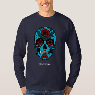 Personalized Cinco de Mayo Sugar Skull Rose Eyes T-Shirt