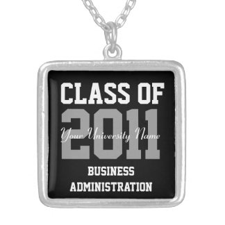 Personalized Class of 20XX College Graduation Silver Plated Necklace