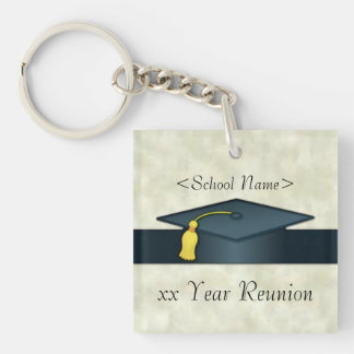 Personalized Class Reunion Cap & Diploma Key Chain Double-Sided Square Acrylic Keychain