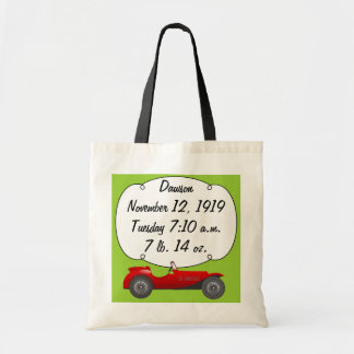 Personalized Classic Car Baby Boy Stats Tote Bags