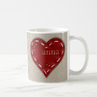 Personalized Classic Mug with Leather Heart