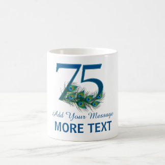 Personalized classy 75th birthday number 75 mug