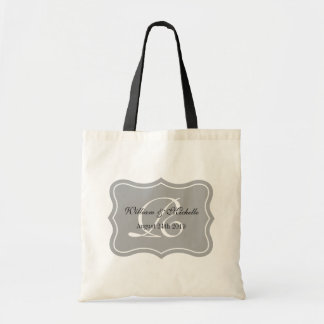 Personalized classy monogram wedding logo tote bag