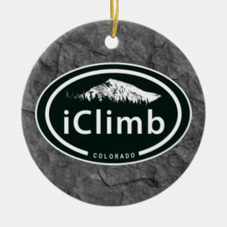 Personalized Climbing iClimb Colorado Mountain Ceramic Ornament