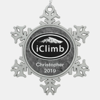Personalized Climbing iClimb Mountain Christmas Snowflake Pewter Christmas Ornament