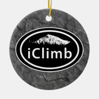 "Personalized Climbing ""iClimb"" Oval Mountain Tag Round Ceramic Decoration"