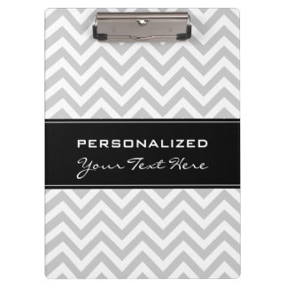 Personalized clipboard | Cool grey chevron pattern
