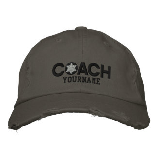 Personalized Coach Black And White Embroidered Cap