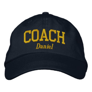 Personalized Coach in Golden Yellow Embroidered Hat