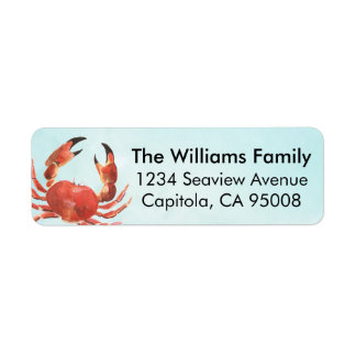 Personalized Coastal Crab Return Address Label