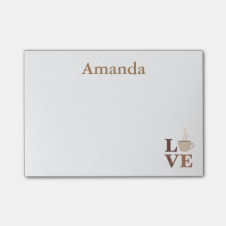 Personalized Coffee Love Post-it Notes