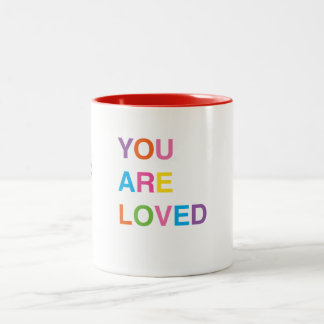Personalized Coffee Mug, You Are Loved Two-Tone Coffee Mug