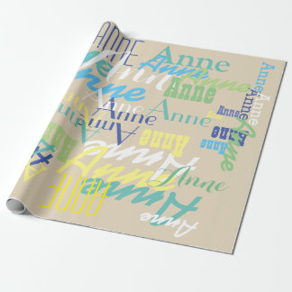 personalized color kids name pattern on beige wrapping paper