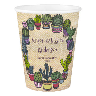 Personalized Colorful Cactus Wedding Paper Cup