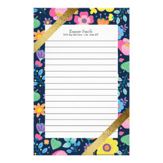 Personalized Colorful Floral and Gold Stationery