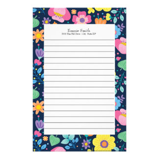 Personalized Colorful Floral Lined Stationery