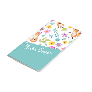 Personalized Colorful Fox Pattern Teal Journal
