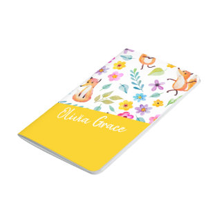 Personalized Colorful Fox Pattern Yellow Journal